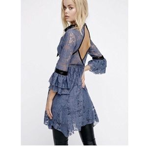 Free People blue Lace Bell Sleeves dress XS